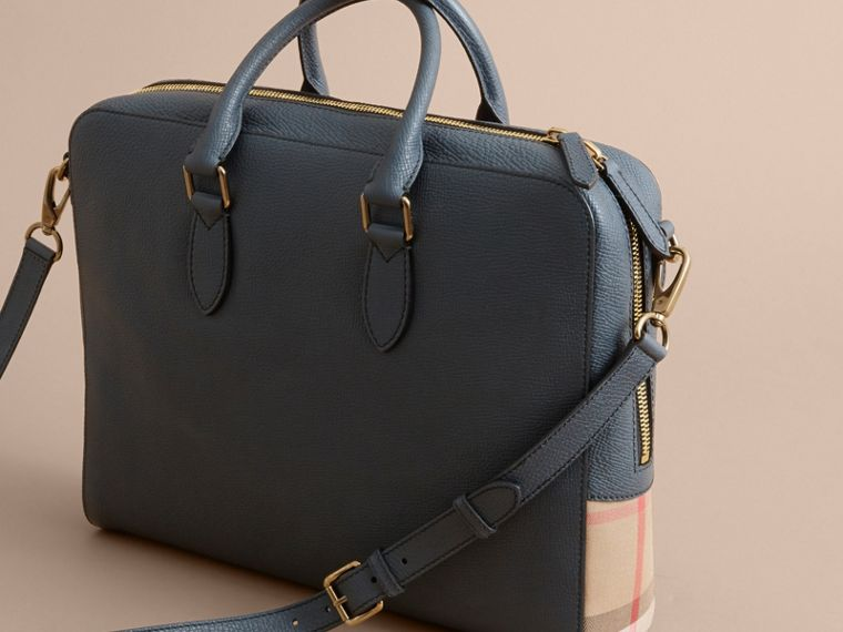 Leather and House Check Briefcase in Storm Blue - Men | Burberry - cell image 4