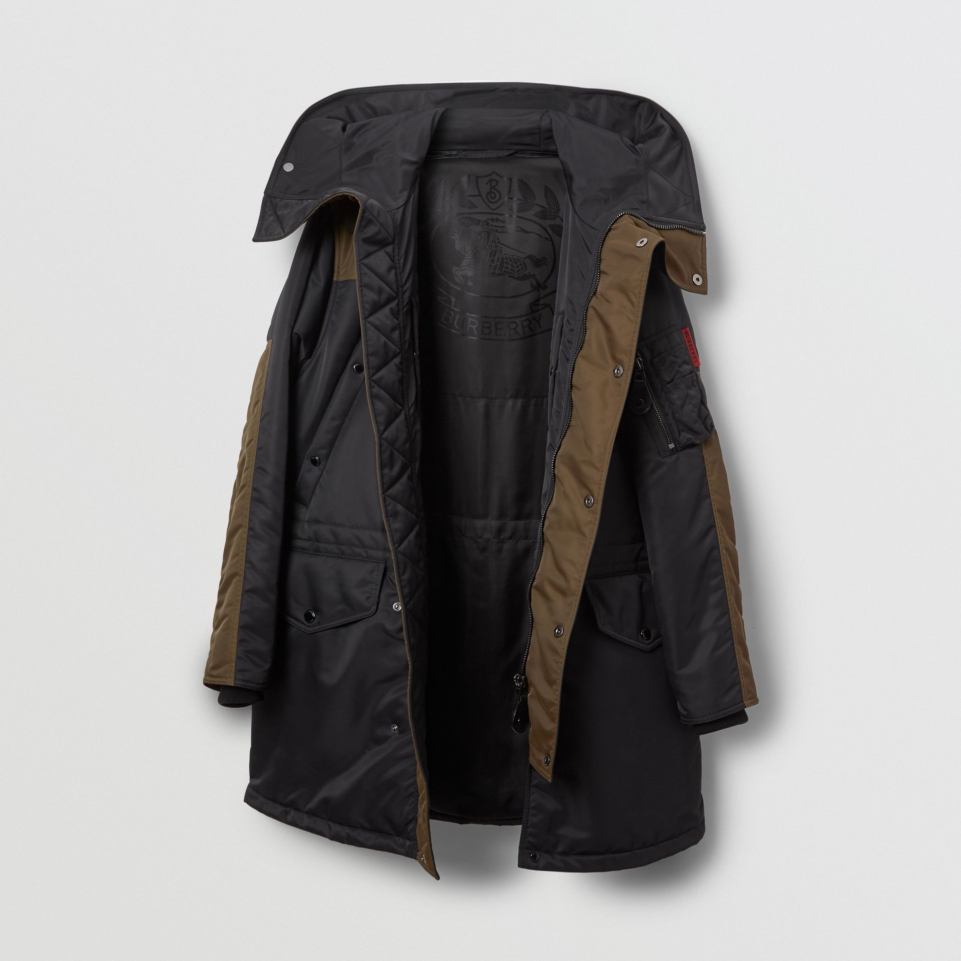 Colour Block Padded Hooded Parka in Black - Men | Burberry United States - gallery image 5