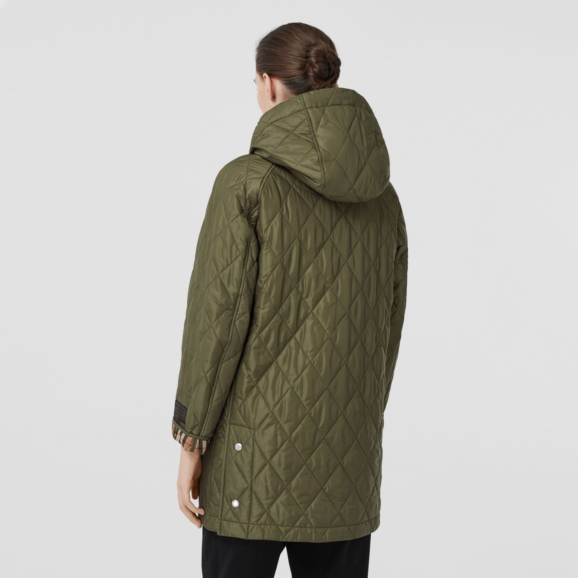 Diamond Quilted Hooded Coat in Cadet Green - Women | Burberry - gallery image 2