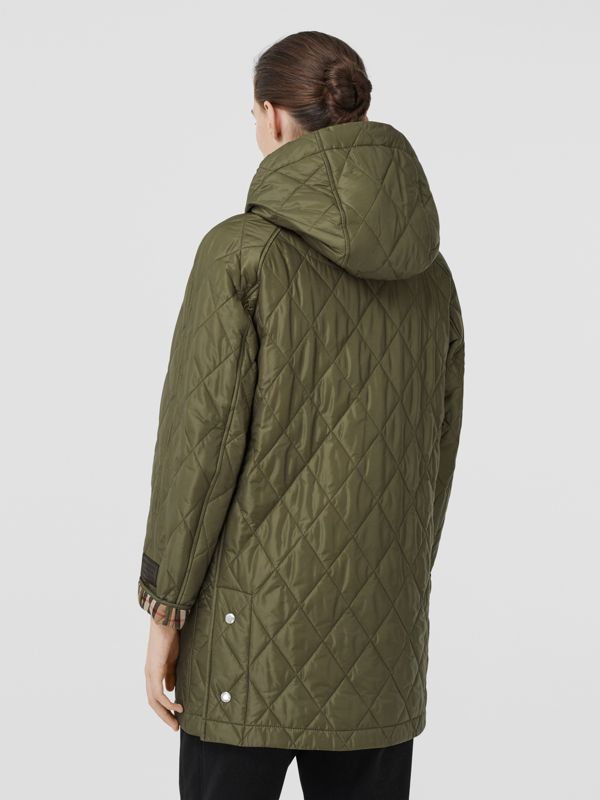 Diamond Quilted Hooded Coat in Cadet Green - Women | Burberry - cell image 2