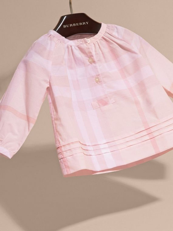 Ice pink Pleat Detail Check Cotton Top - cell image 2
