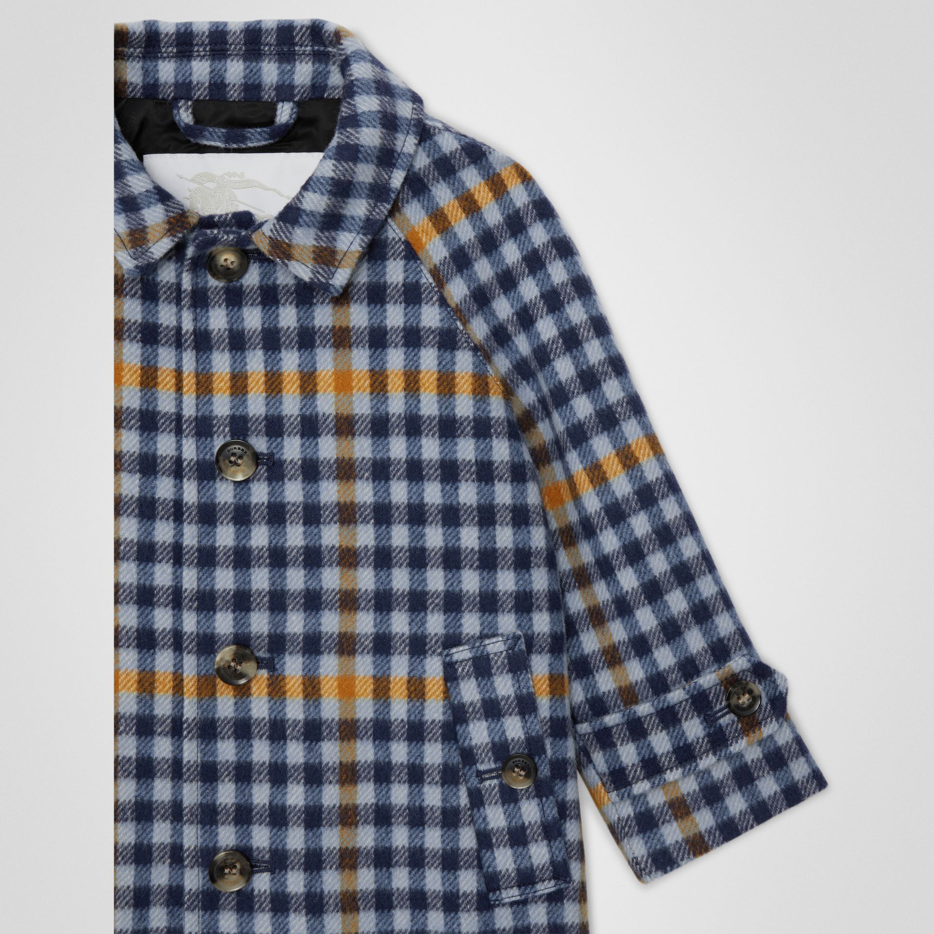 Check Wool Car Coat in Canvas Blue - Children | Burberry - gallery image 4