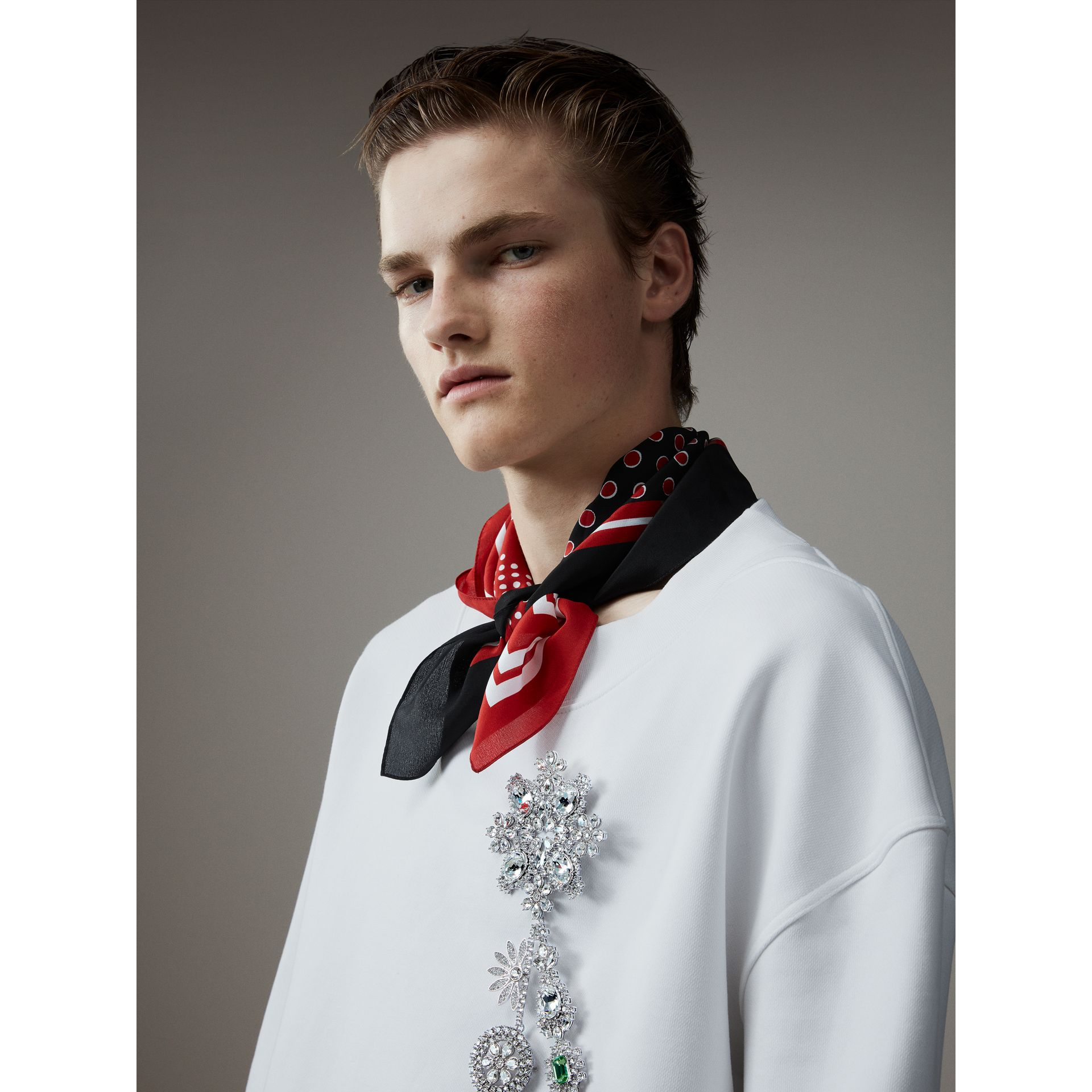 Cotton Cropped Sweatshirt with Crystal Brooch in Optic White - Men | Burberry United Kingdom - gallery image 5