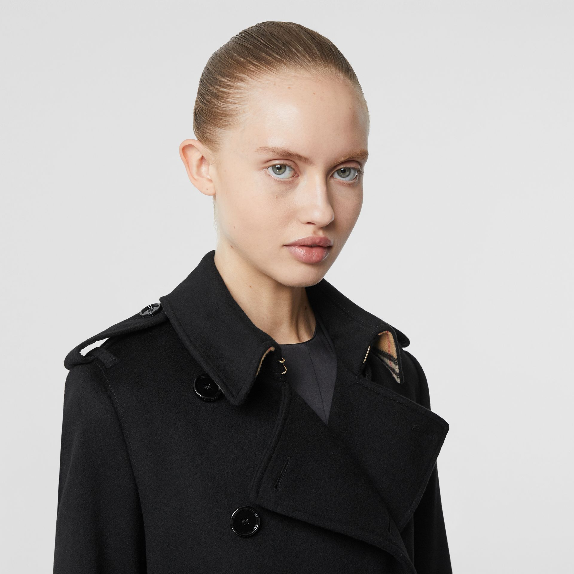Cashmere Trench Coat in Black - Women | Burberry Singapore - gallery image 1