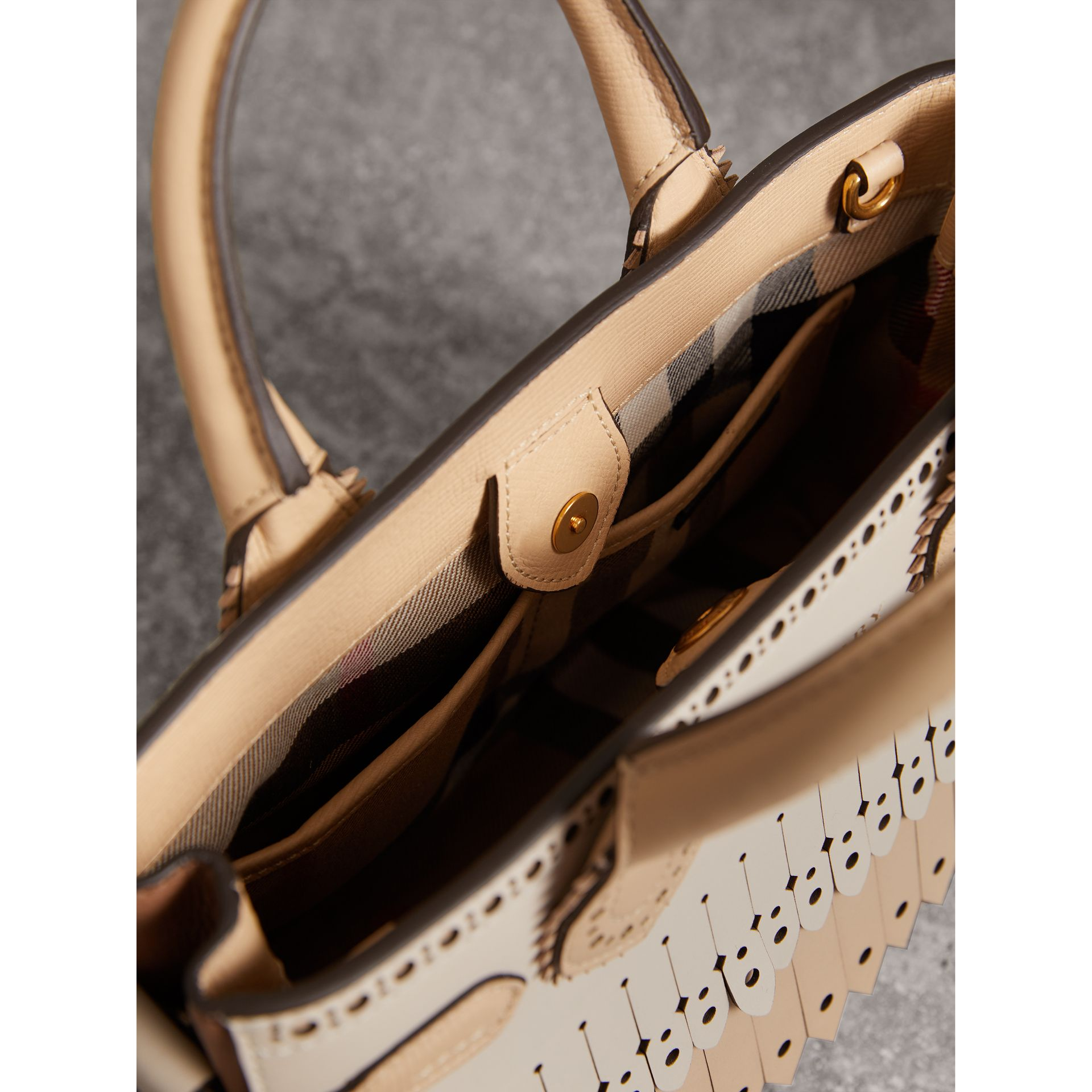 The Small Banner in Brogue Detail Leather in Chino - Women | Burberry - gallery image 6