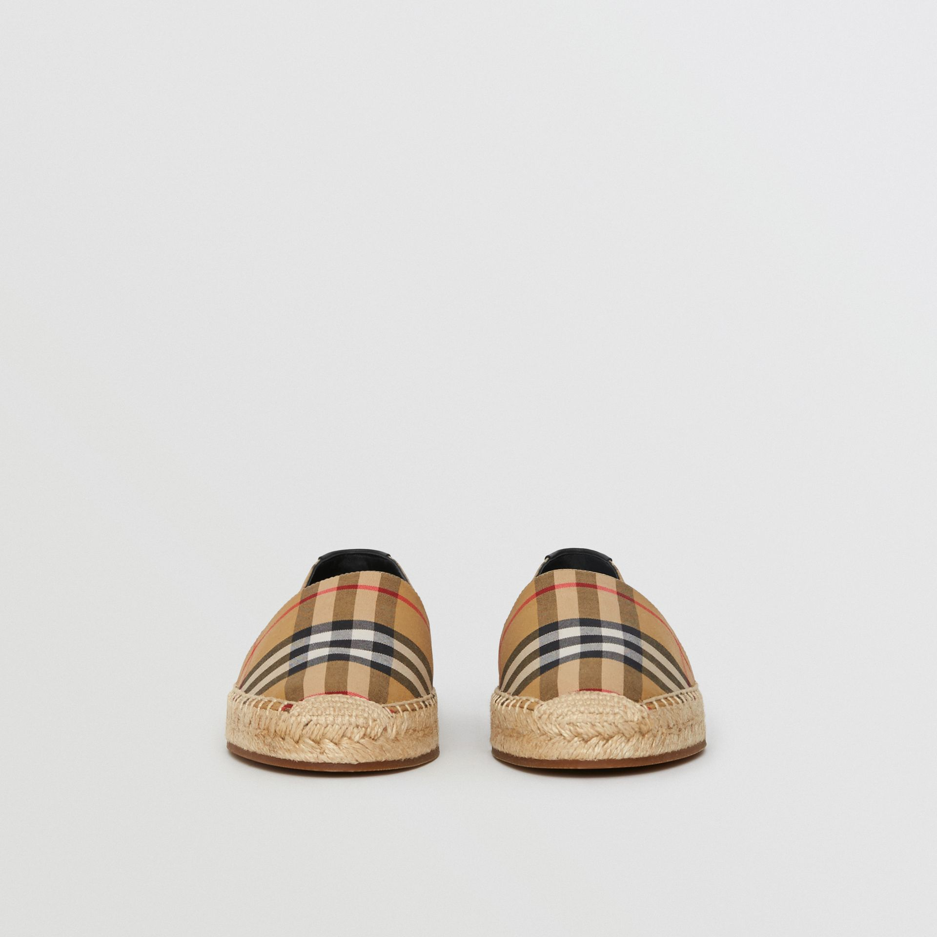 Vintage Check and Leather Espadrilles in Antique Yellow - Women | Burberry - gallery image 3