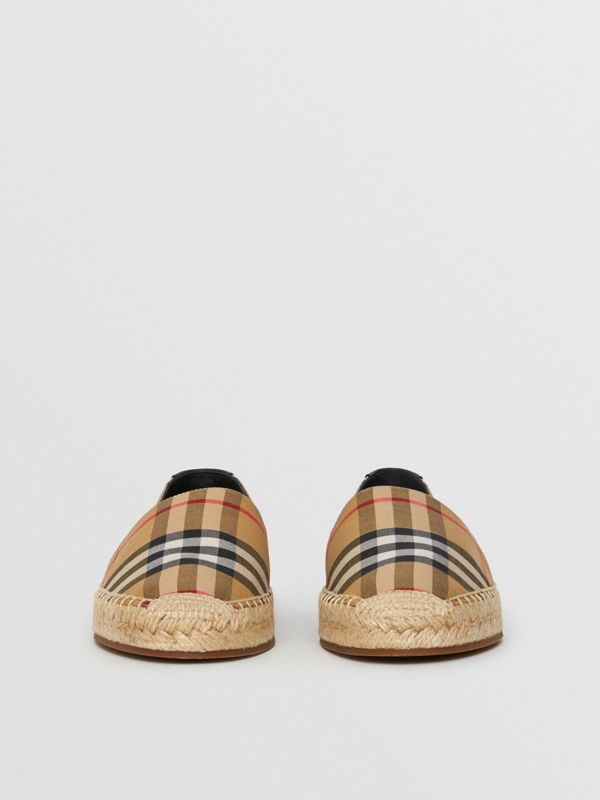 Vintage Check and Leather Espadrilles in Antique Yellow - Women | Burberry Canada - cell image 3