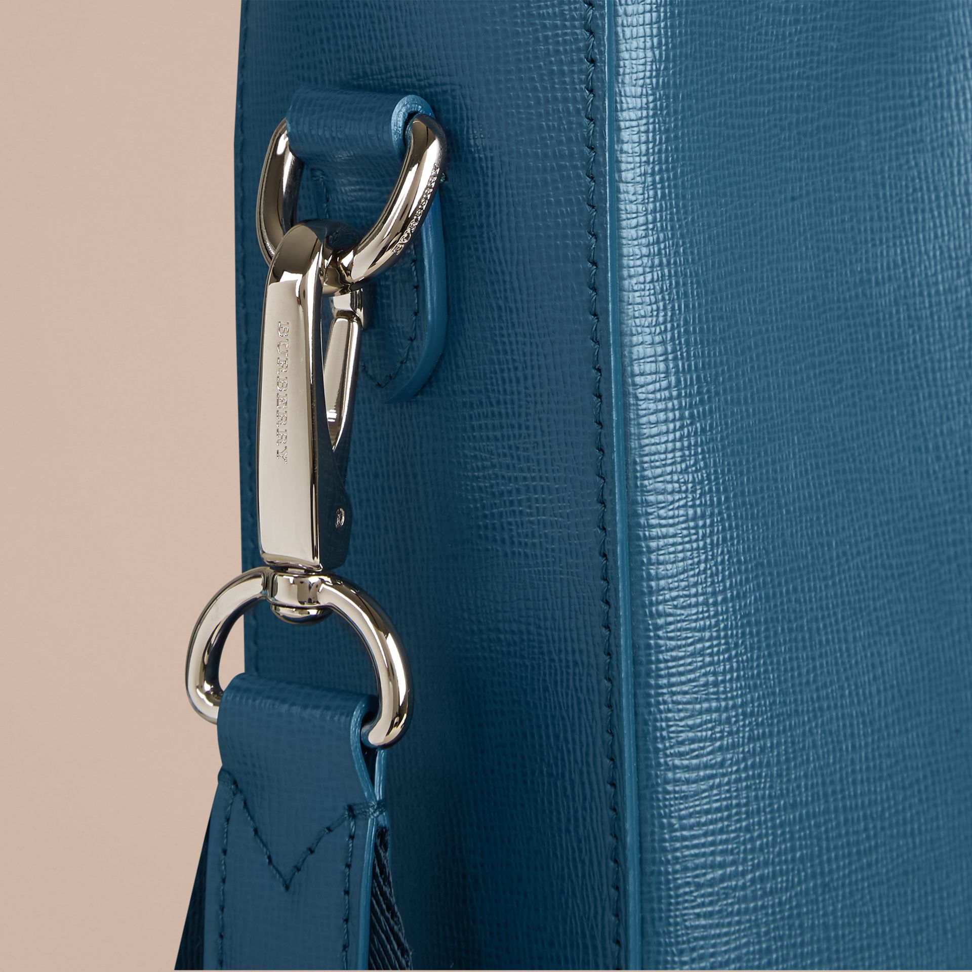 London Leather Tote Bag in Mineral Blue - gallery image 5