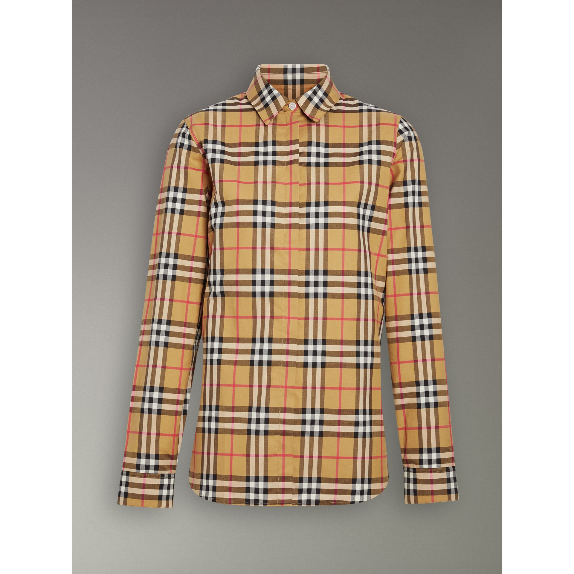 Vintage Check Cotton Shirt in Antique Yellow - Women | Burberry United Kingdom - gallery image 3
