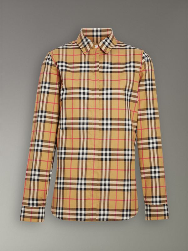 Vintage Check Cotton Shirt in Antique Yellow - Women | Burberry - cell image 3