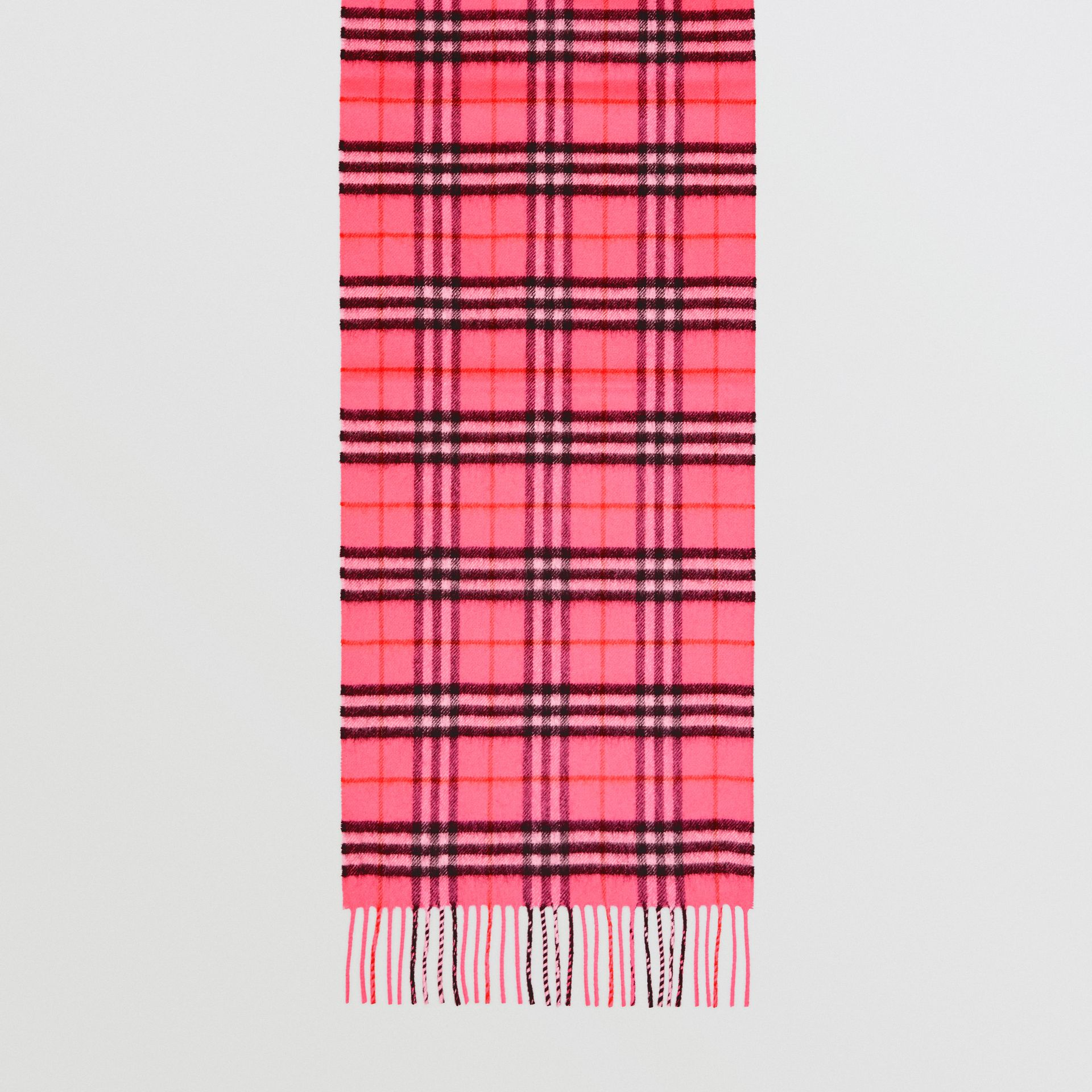 The Classic Vintage Check Cashmere Scarf in Bright Pink | Burberry United States - gallery image 4