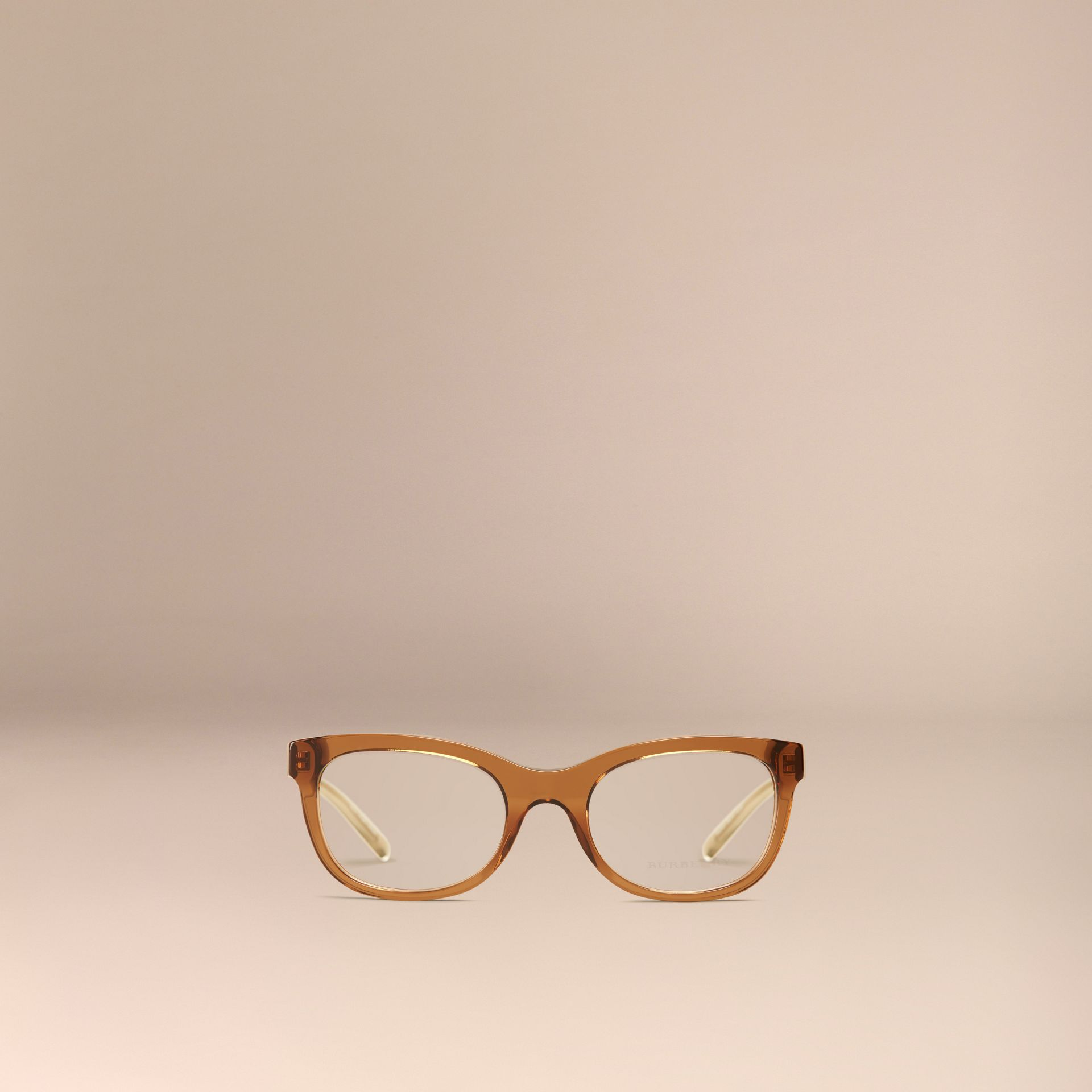 Taupe brown Check Detail Oval Optical Frames Taupe Brown - gallery image 2
