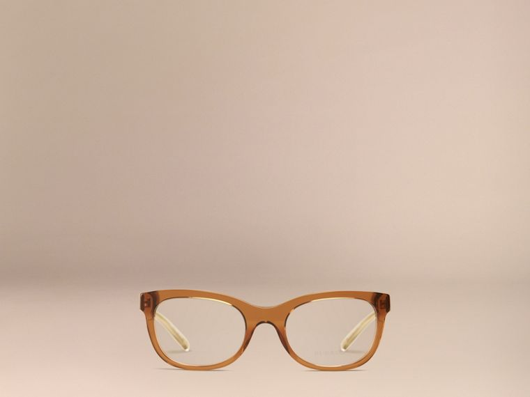 Taupe brown Check Detail Oval Optical Frames Taupe Brown - cell image 1