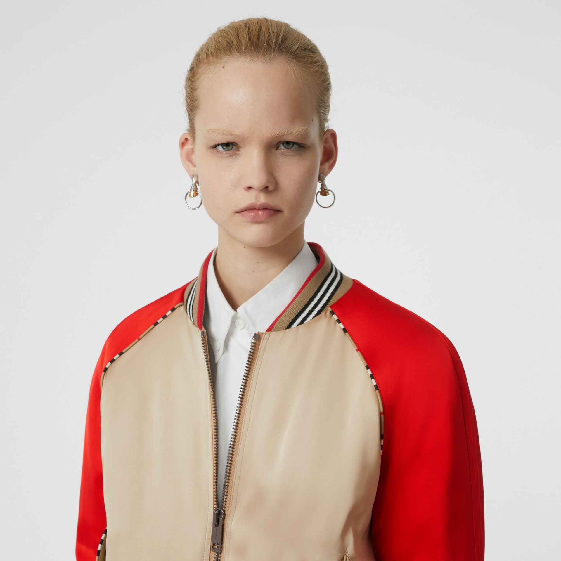 Icon Stripe Detail Monogram Motif Bomber Jacket in Honey/red - Women | Burberry - gallery image 1