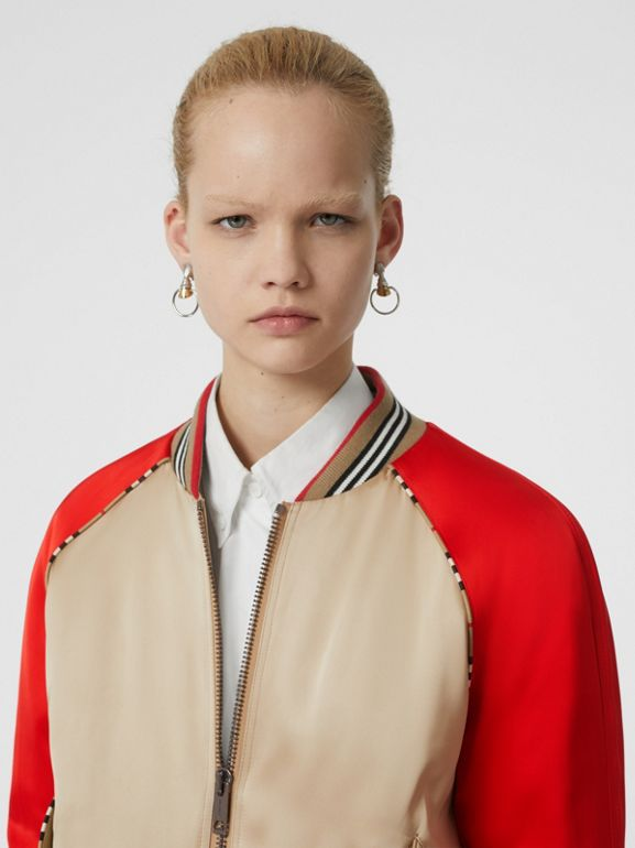 Icon Stripe Detail Monogram Motif Bomber Jacket in Honey/red - Women | Burberry Singapore - cell image 1