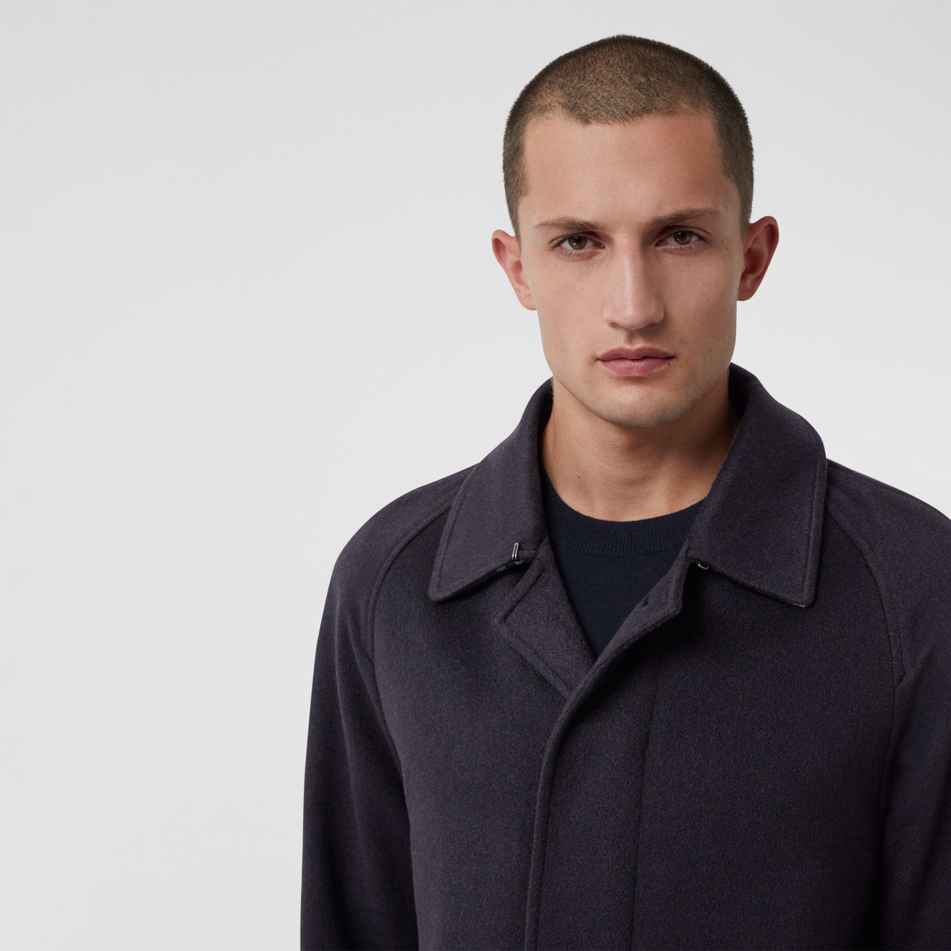 Cashmere Car Coat in Navy - Men | Burberry Australia - gallery image 5