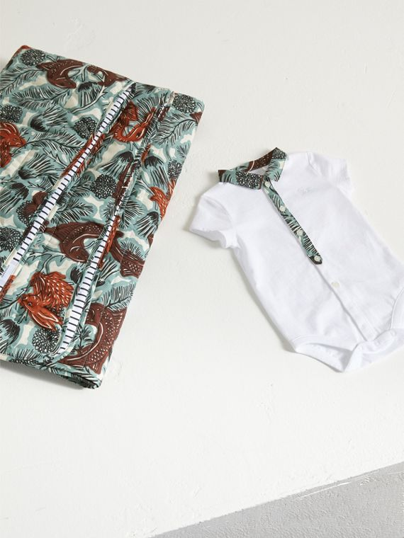 Beasts Print Cotton Two-piece Baby Gift Set in White | Burberry - cell image 2