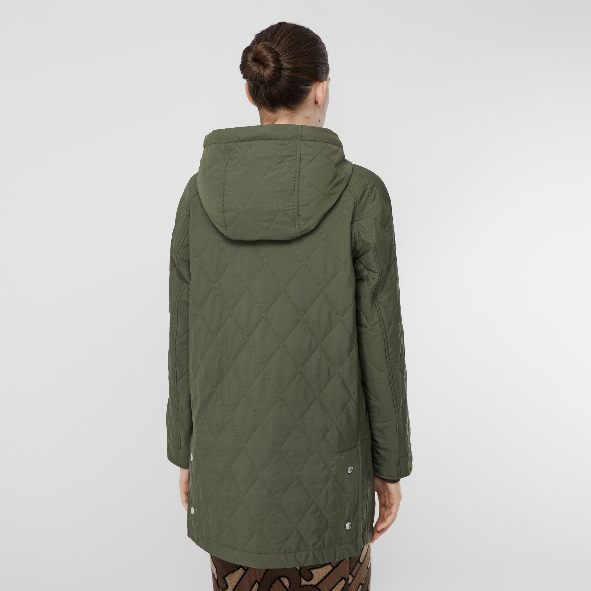 Diamond Quilted Thermoregulated Hooded Coat in Poplar Green - Women | Burberry - gallery image 2
