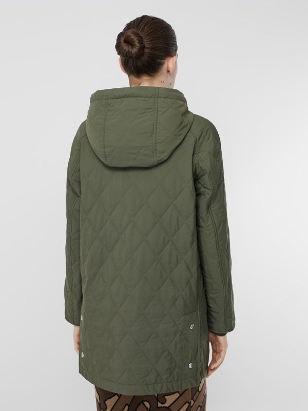 Diamond Quilted Thermoregulated Hooded Coat in Poplar Green - Women | Burberry - cell image 2
