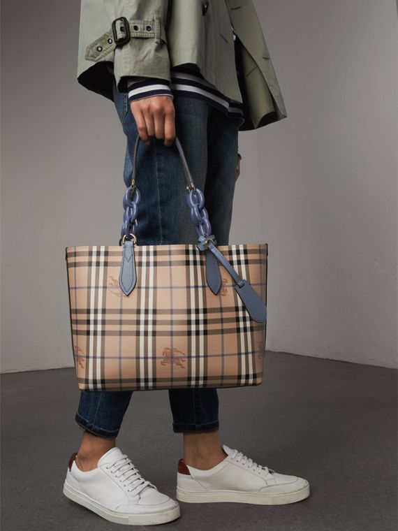 La borsa tote double face piccola con catena in resina (Blu Ardesia) - Donna | Burberry - cell image 3