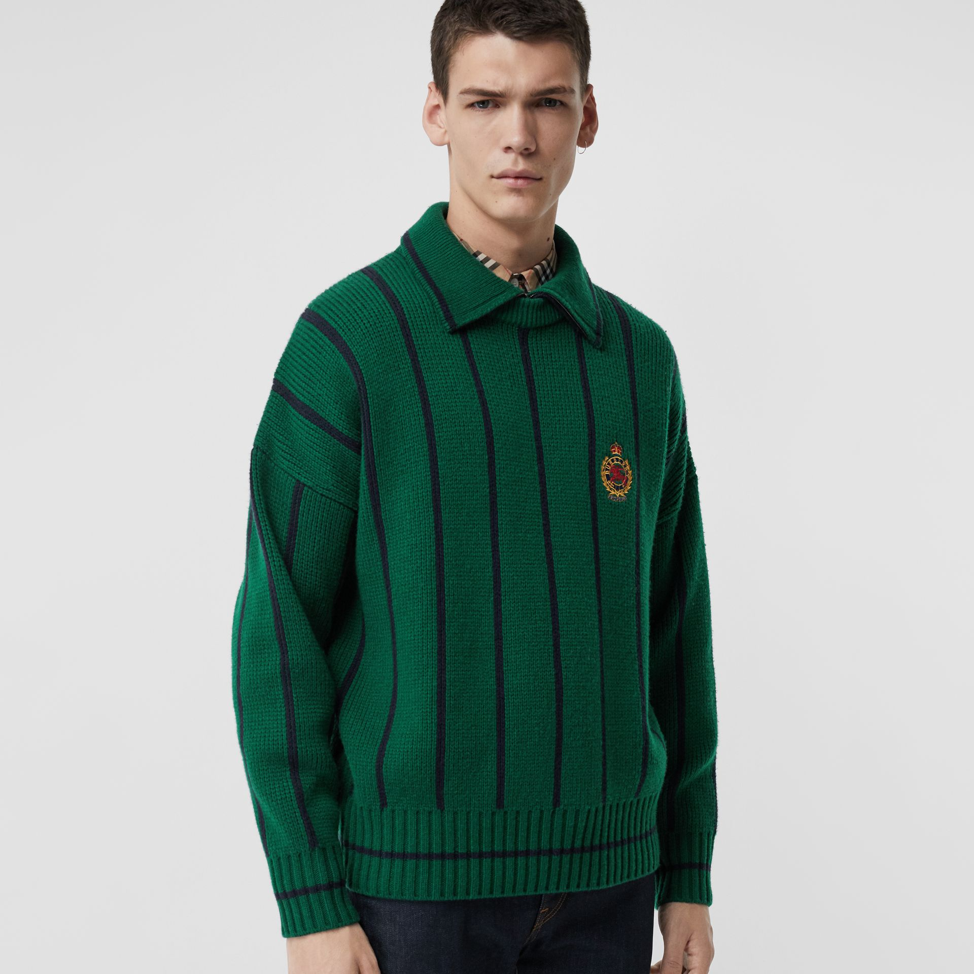 Striped Wool Cashmere Sweater in Bright Forest Green - Men | Burberry Singapore - gallery image 4