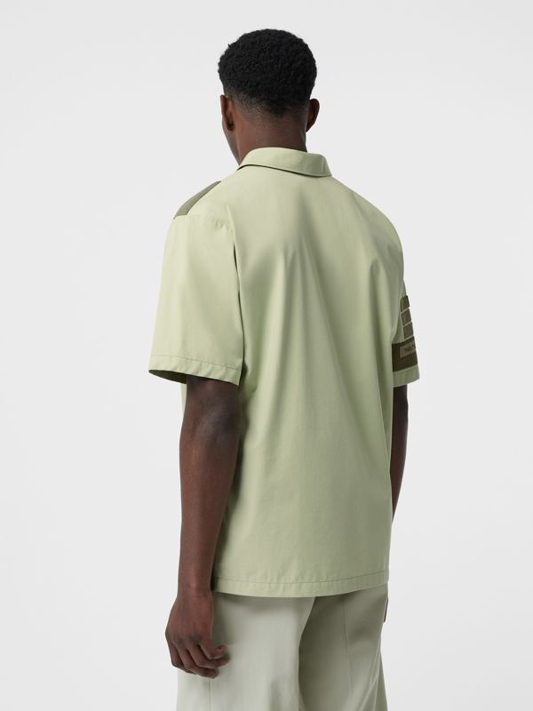 Short-sleeve Montage Print Military Cotton Shirt in Matcha | Burberry - cell image 2