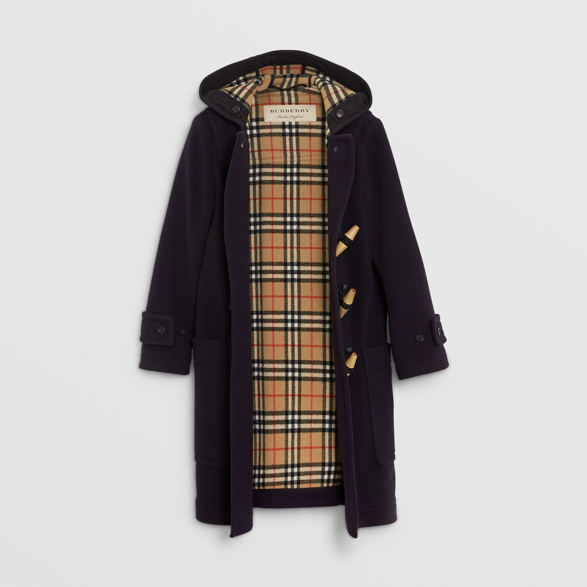 Vintage Check Detail Wool Blend Duffle Coat in Navy - Women | Burberry - gallery image 3