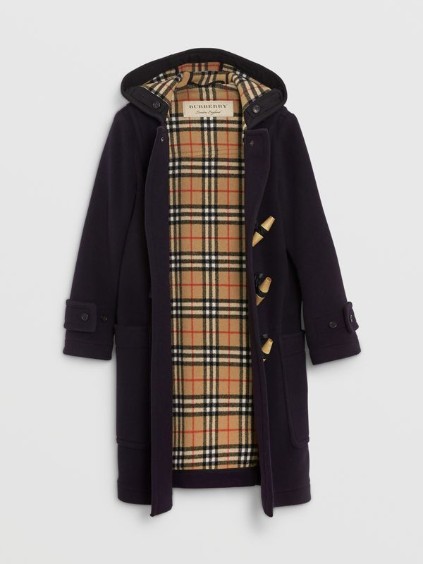 Vintage Check Detail Wool Blend Duffle Coat in Navy - Women | Burberry - cell image 3