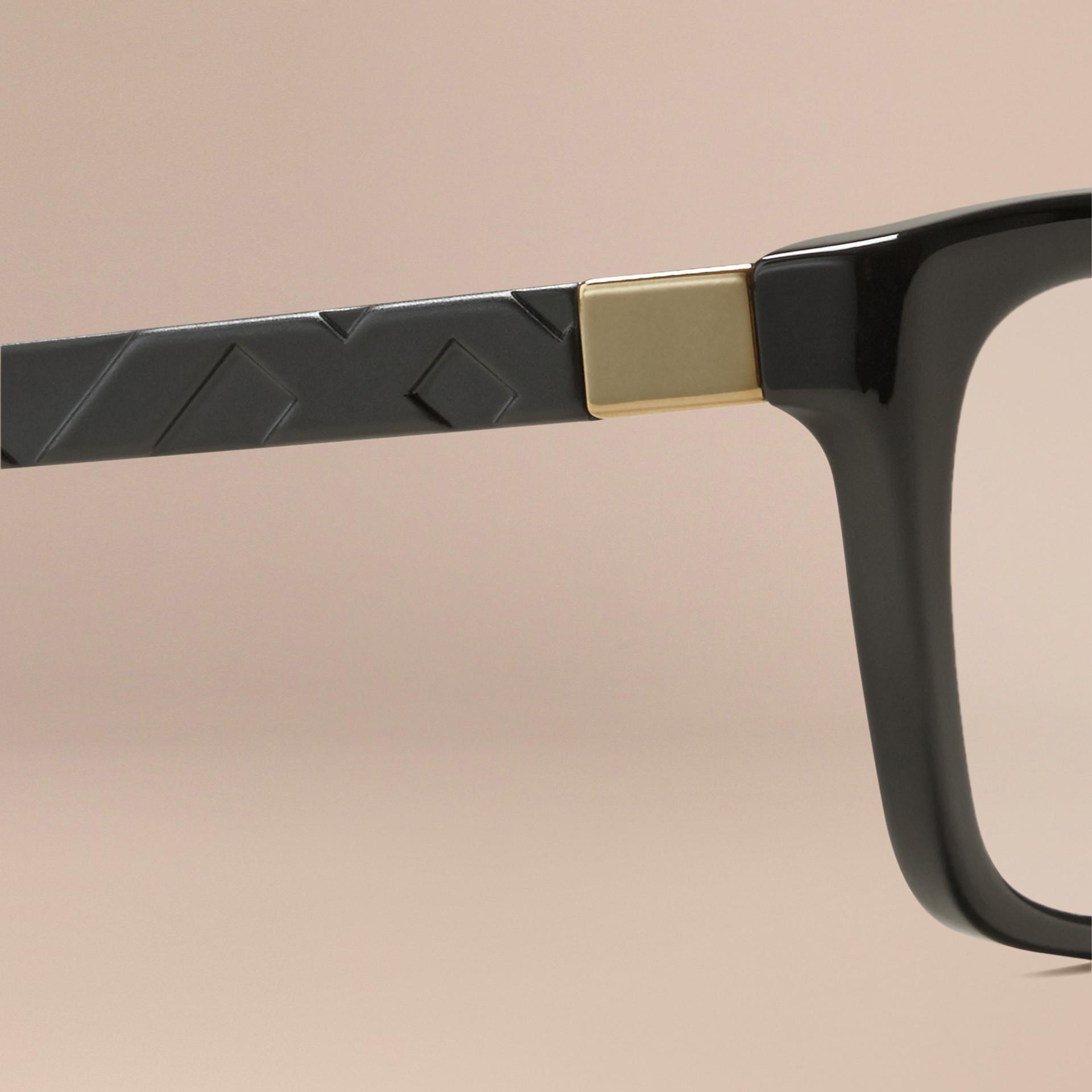 Noir Monture rectangulaire pour lunettes de vue avec détails check Noir - photo de la galerie 2
