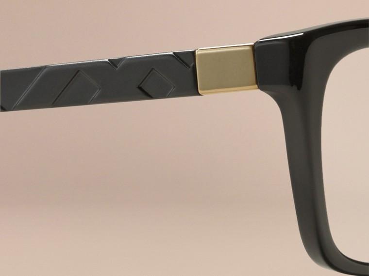Noir Monture rectangulaire pour lunettes de vue avec détails check Noir - cell image 1