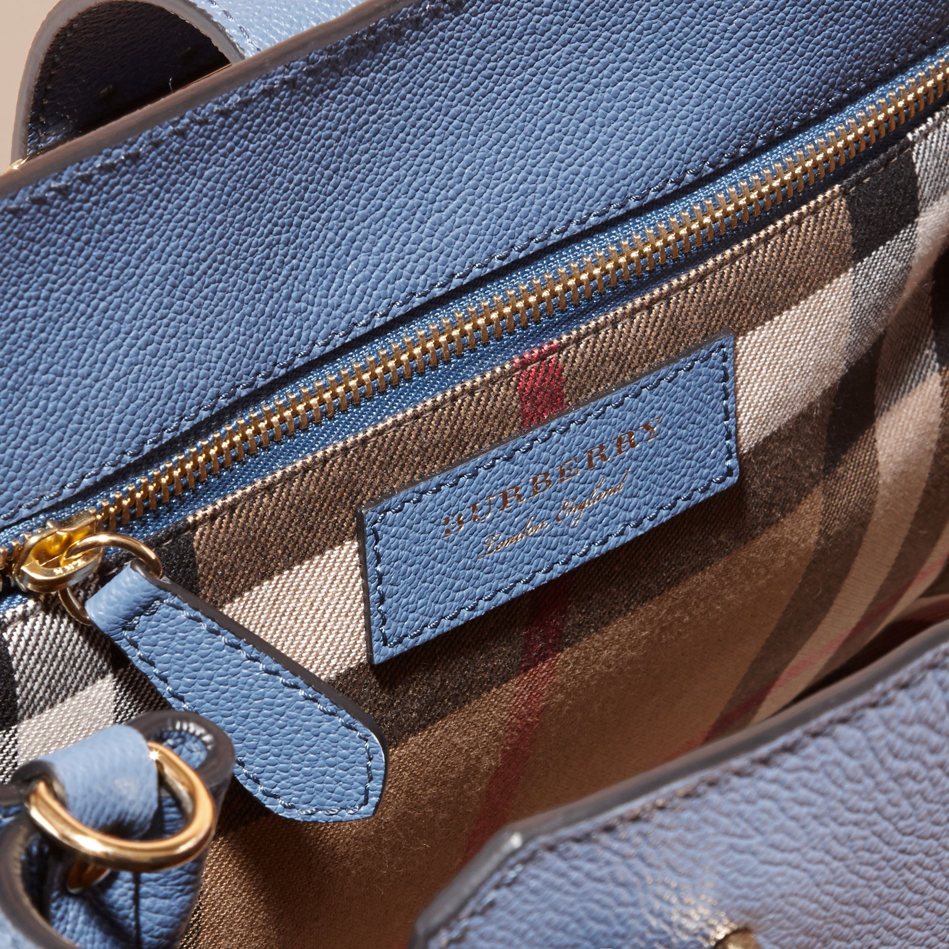 The Medium Buckle Tote in Grainy Leather in Steel Blue - gallery image 6