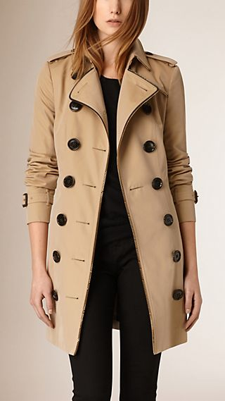 Chain Trim Cotton Gabardine Trench Coat