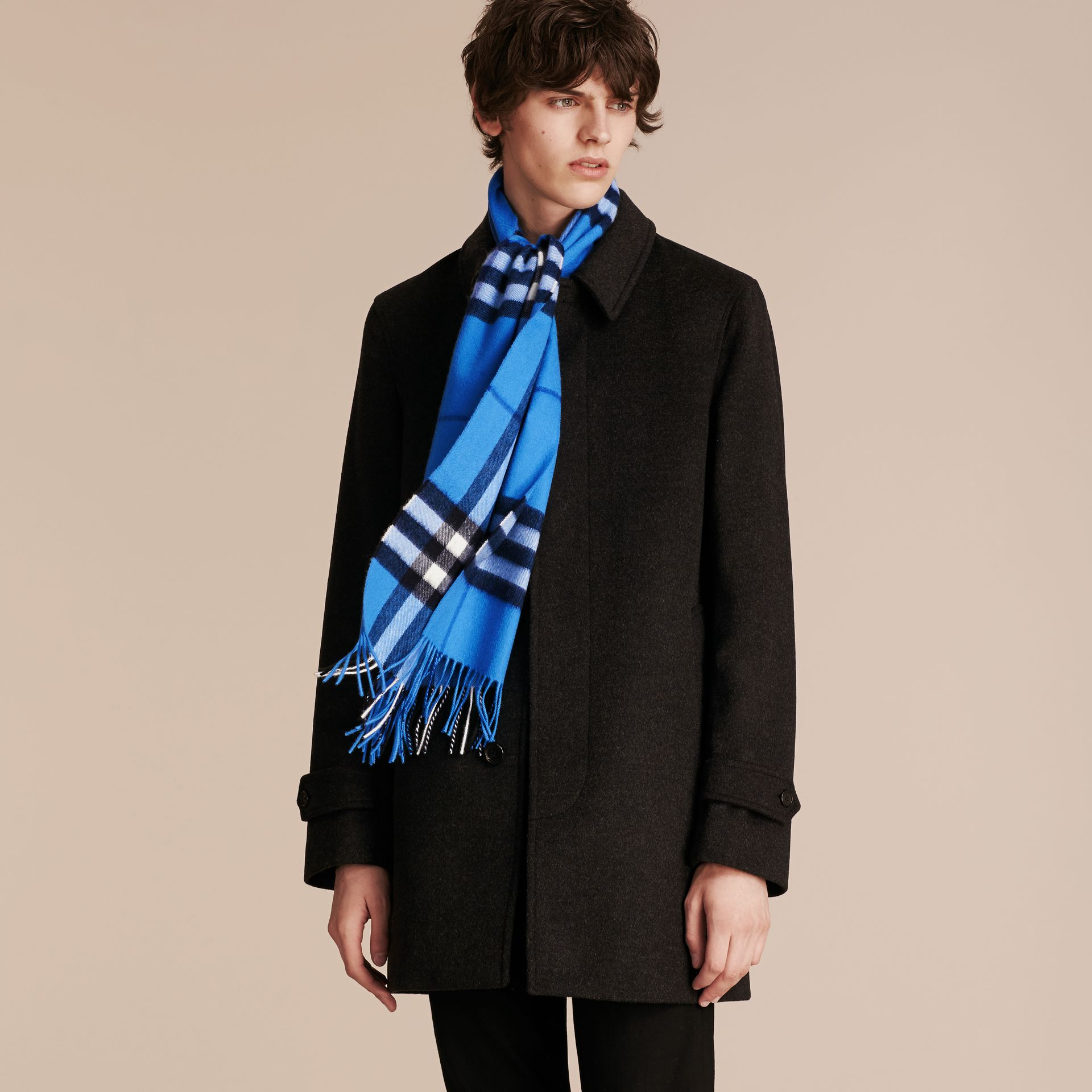 The Classic Cashmere Scarf in Check  Bright Cornflower Blue - gallery image 4