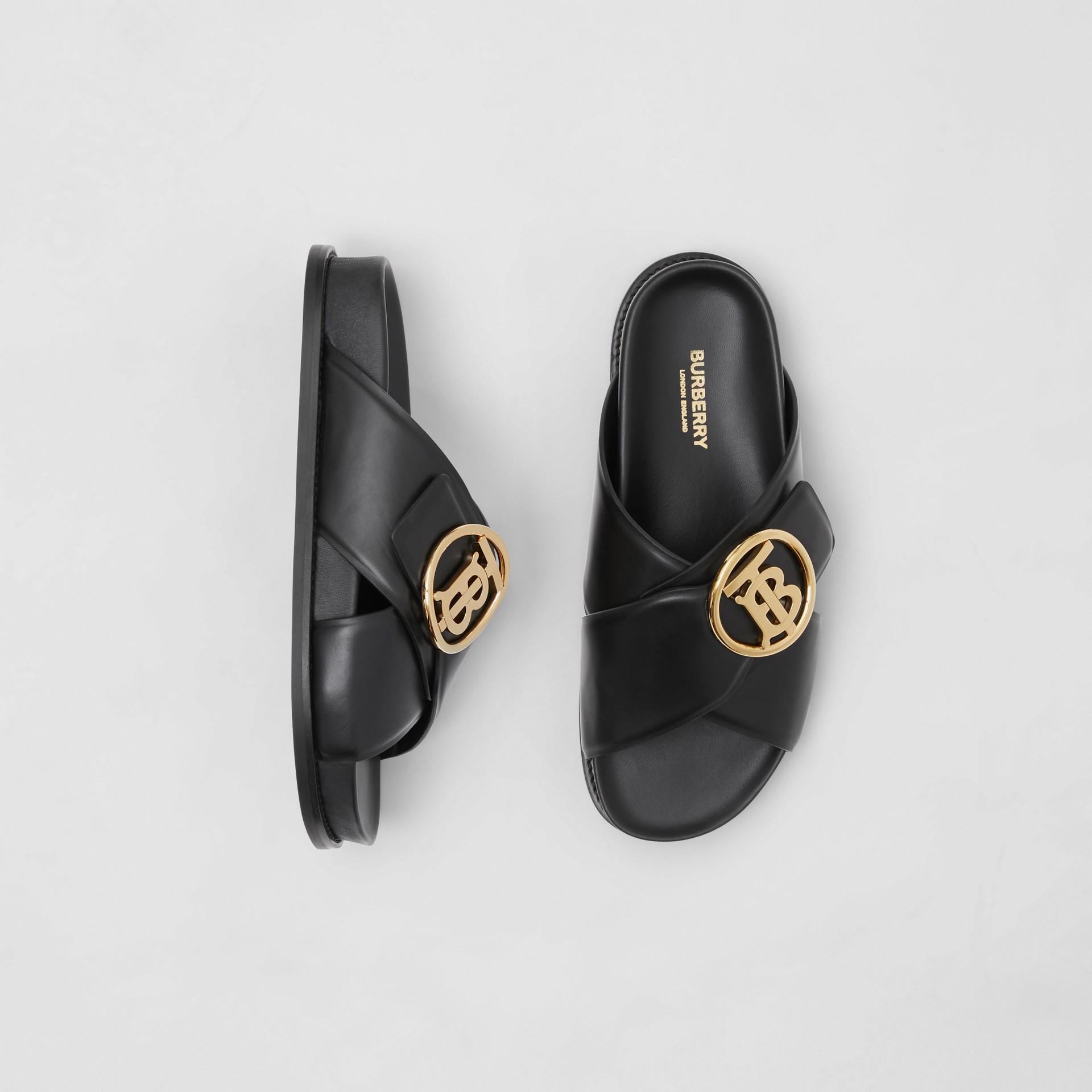 Monogram Motif Leather Slides in Black - Women | Burberry - gallery image 0
