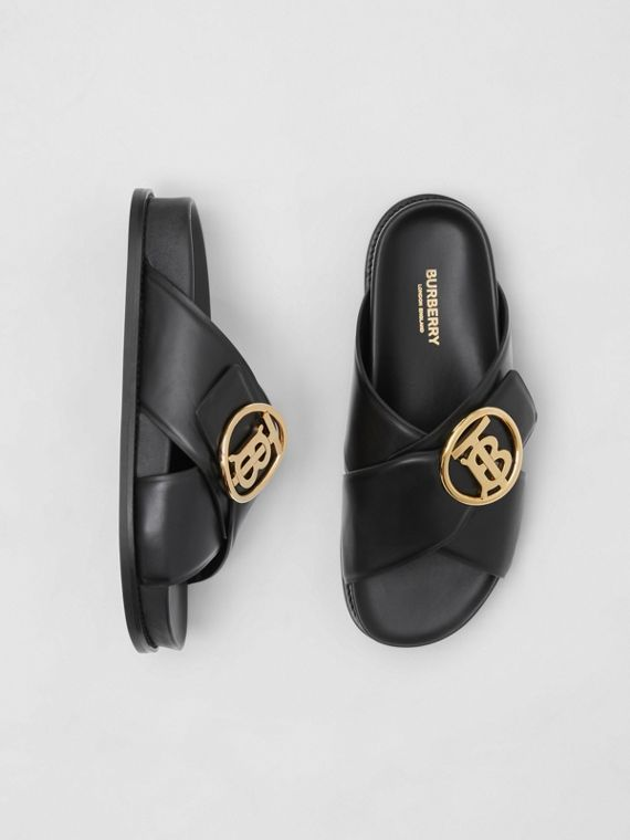 Monogram Motif Leather Slides in Black