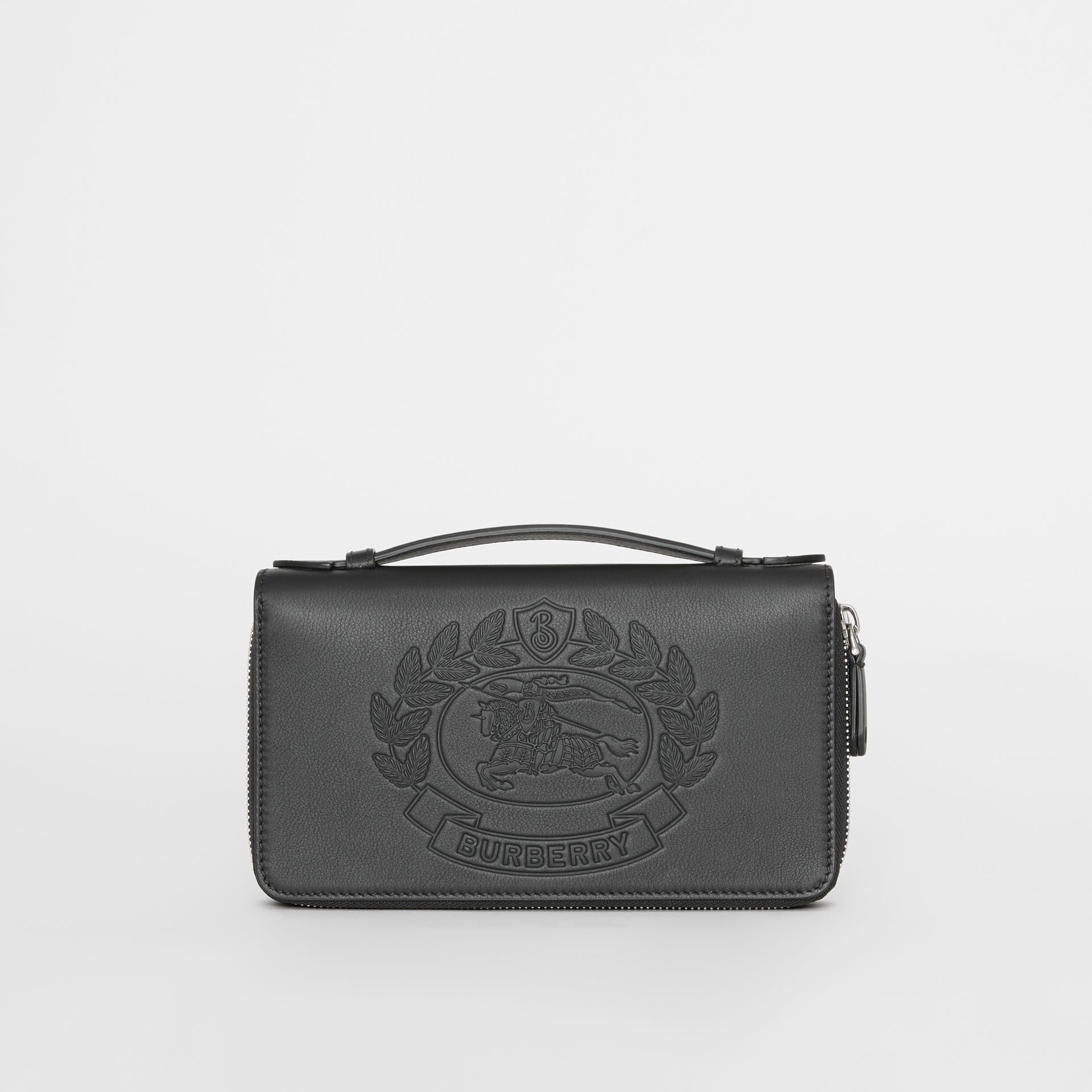 Embossed Crest Leather Travel Wallet in Black - Men | Burberry - gallery image 5
