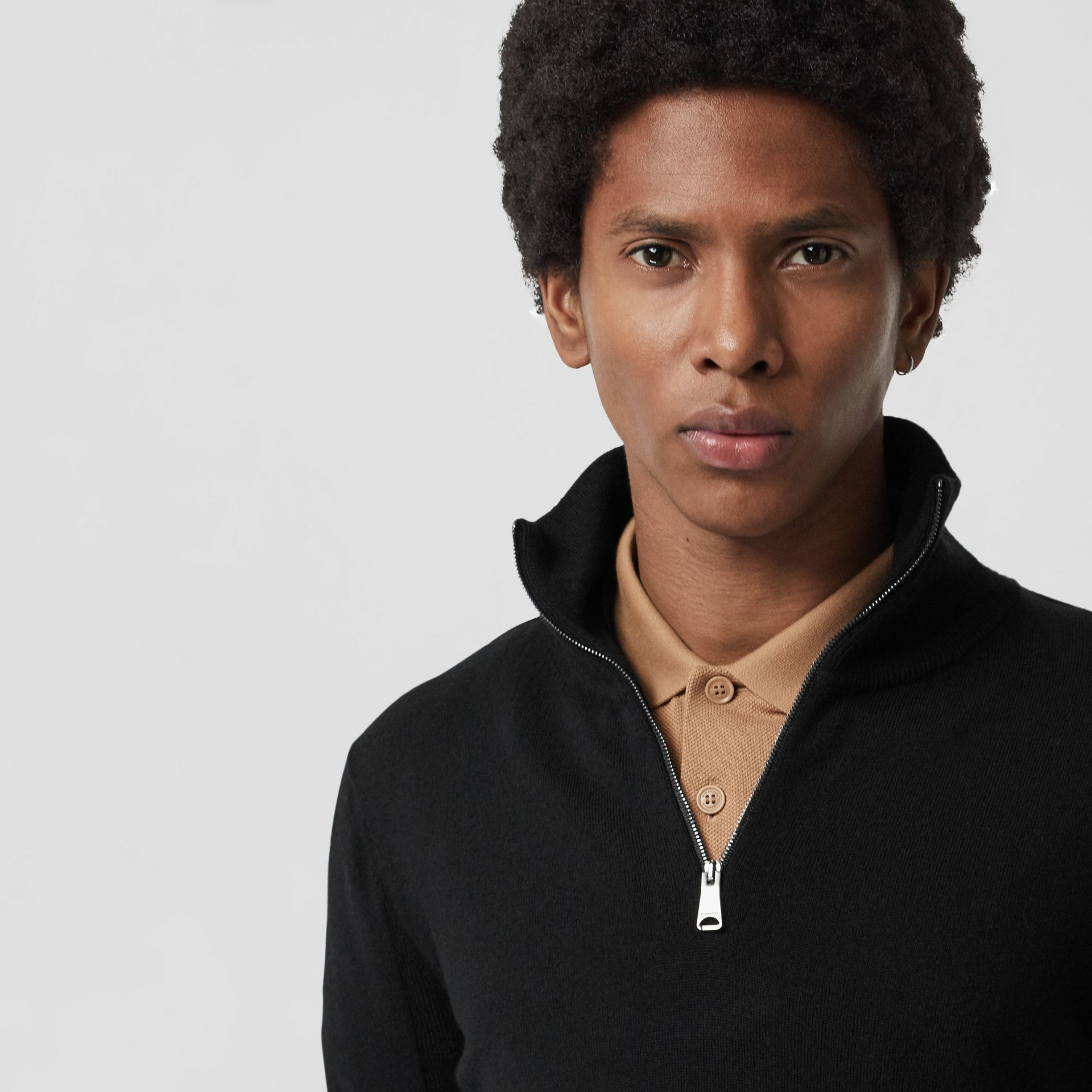 Merino Wool Half-zip Sweater in Black - Men | Burberry Australia - gallery image 4