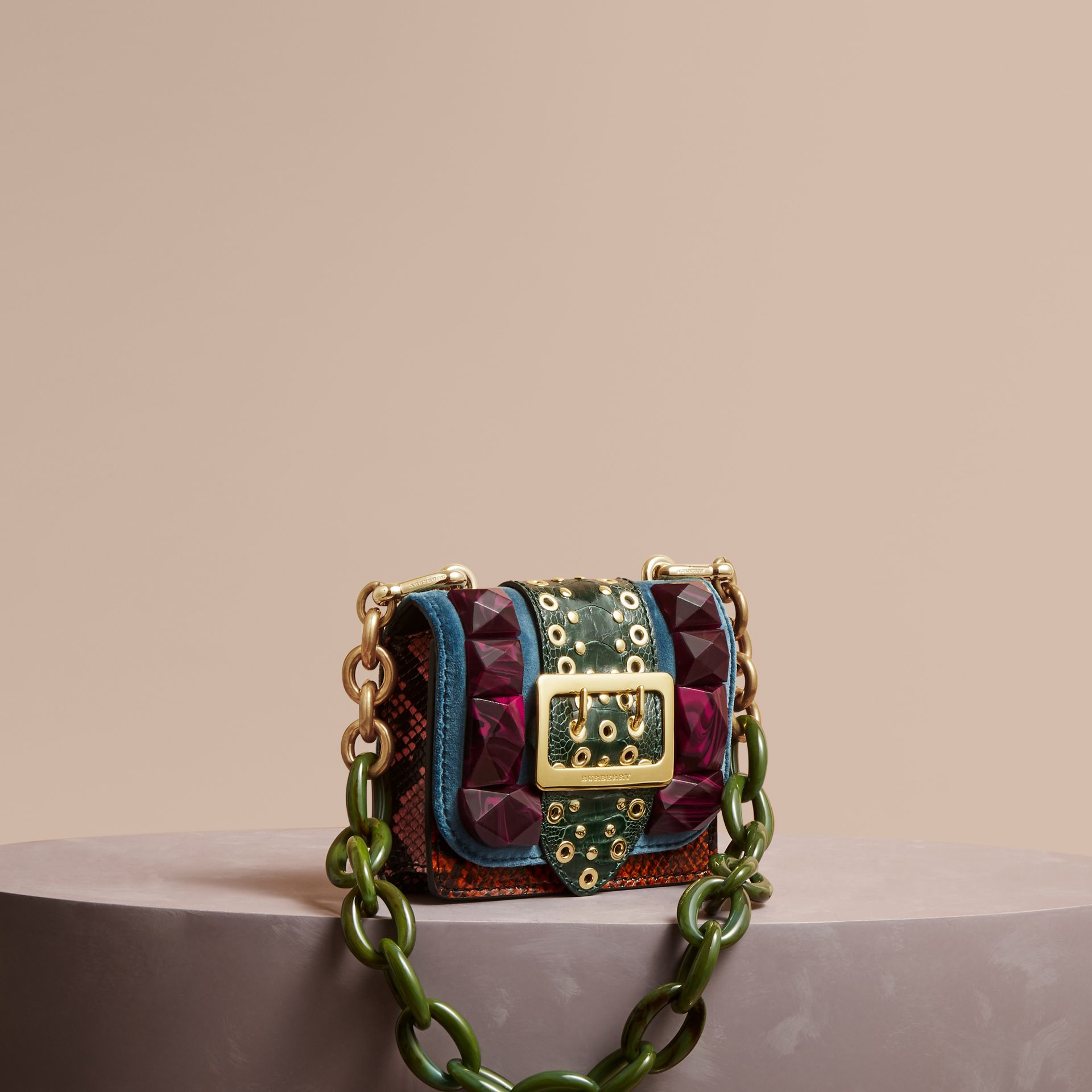 The Mini Square Buckle Bag in Velvet and Ostrich in Brilliant Blue - Women | Burberry - gallery image 0