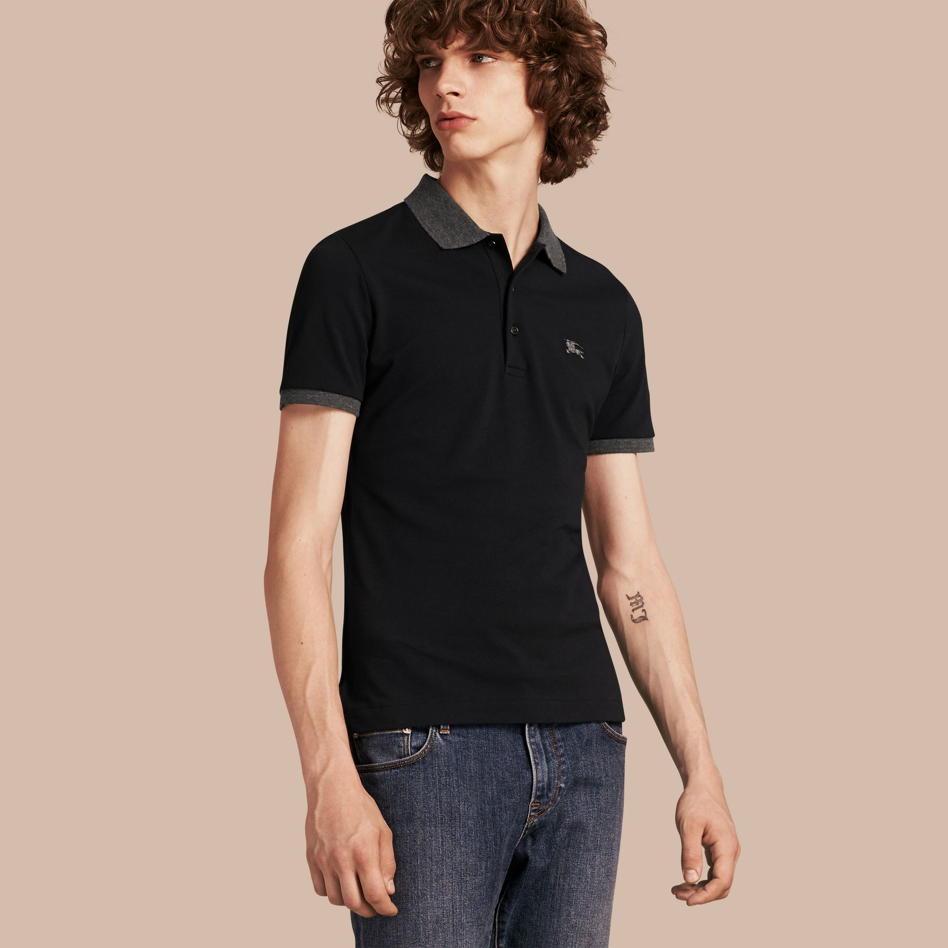 Dark navy Contrast Colour Detail Cotton Piqué Polo Shirt Dark Navy - gallery image 1