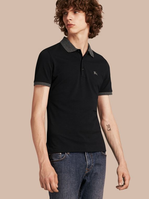 Contrast Colour Detail Cotton Piqué Polo Shirt Dark Navy
