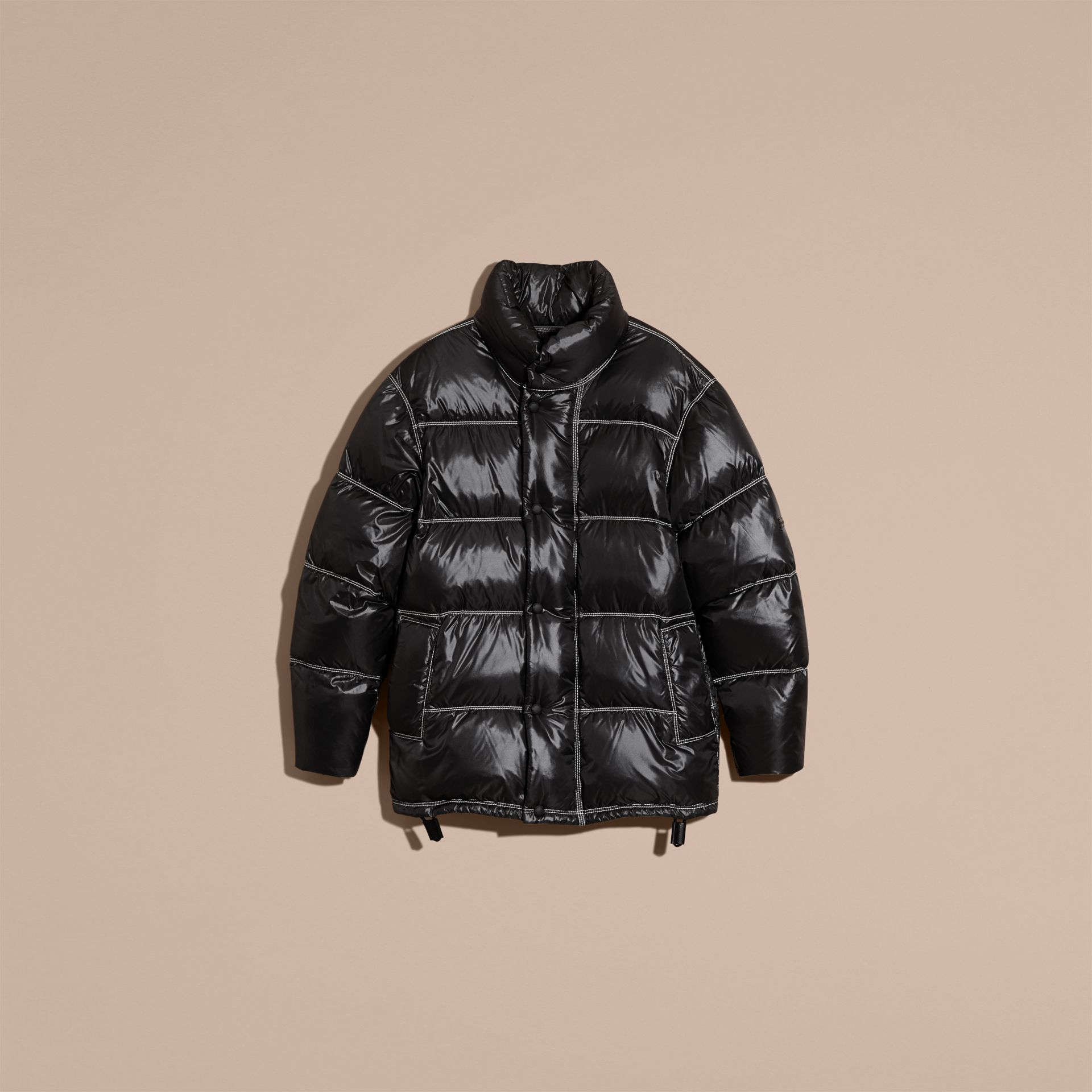 Black Down-filled Puffer Coat - gallery image 4