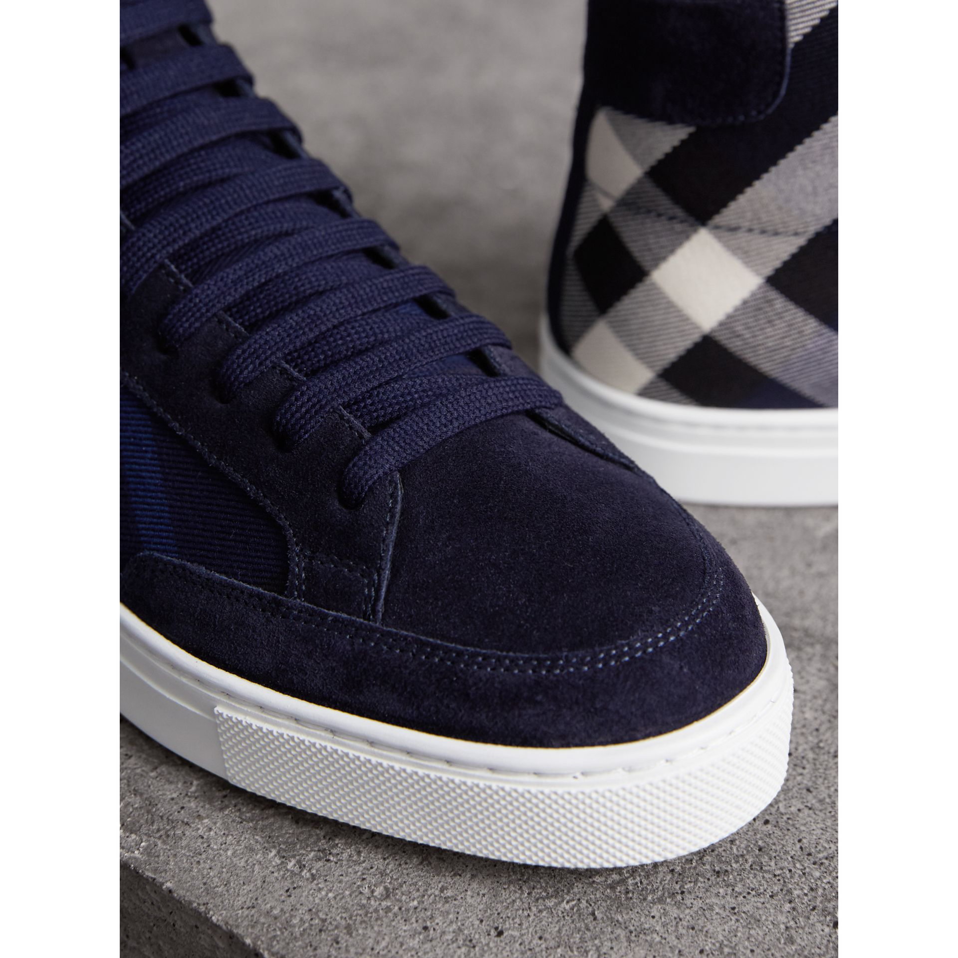 House Check Cotton and Calf Suede High-top Trainers in Navy - Men | Burberry - gallery image 2