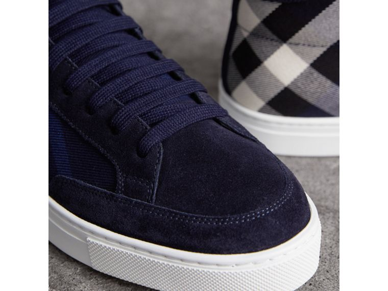 House Check Cotton and Calf Suede High-top Trainers in Navy - Men | Burberry - cell image 1