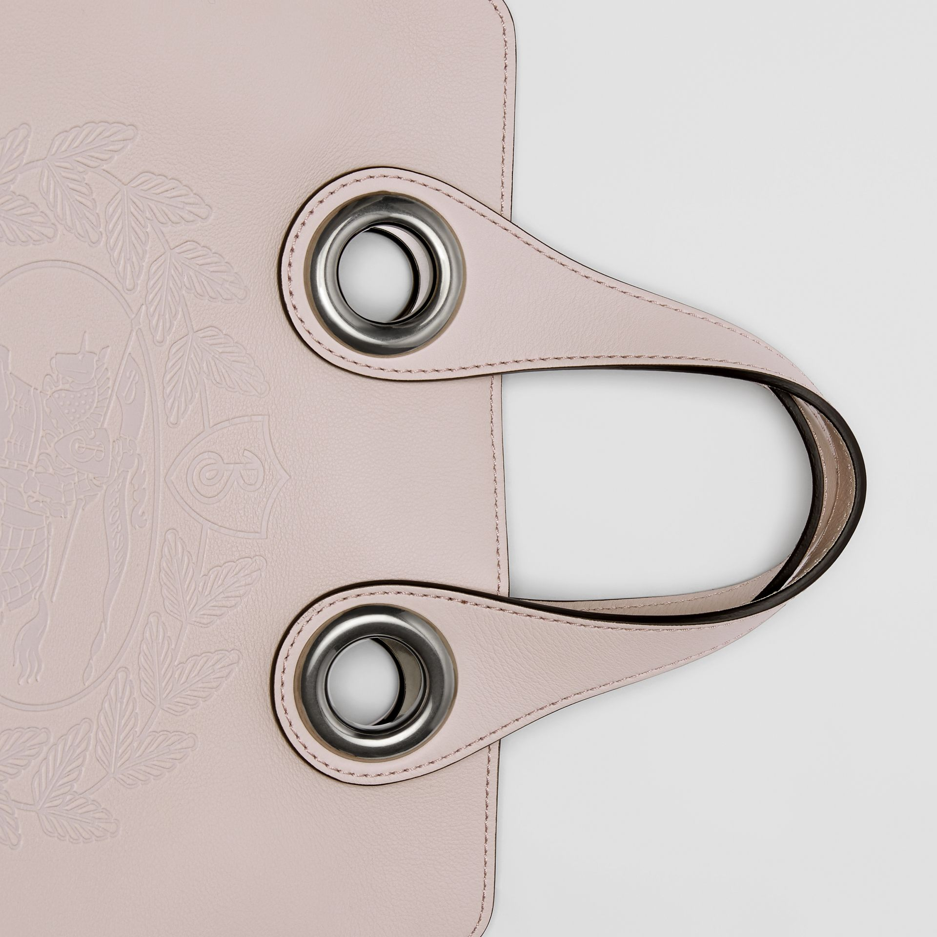 The Leather Crest Grommet Detail Tote in Chalk Pink - Women | Burberry - gallery image 1