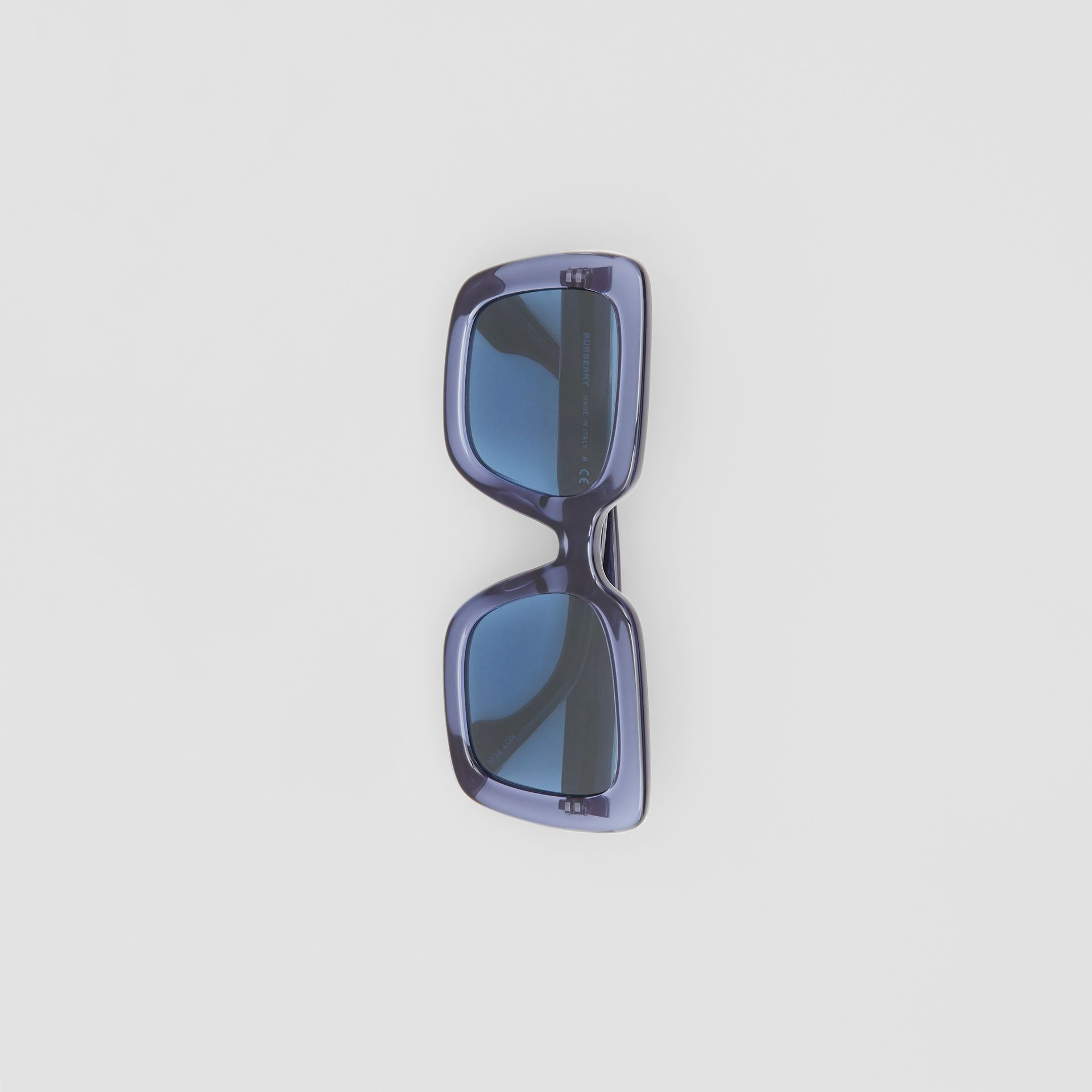 Oversized Square Frame Sunglasses in Blue - Women | Burberry United Kingdom - gallery image 2