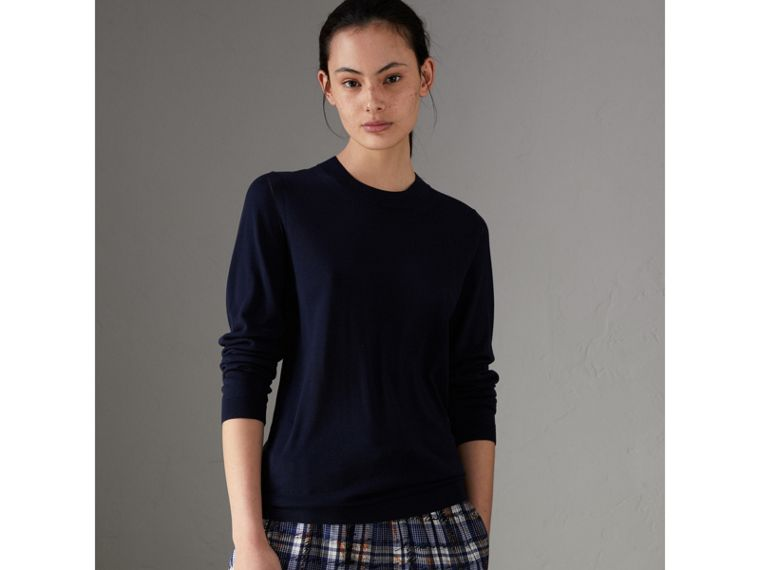 Silk Cashmere Sweater in Navy - Women | Burberry - cell image 4