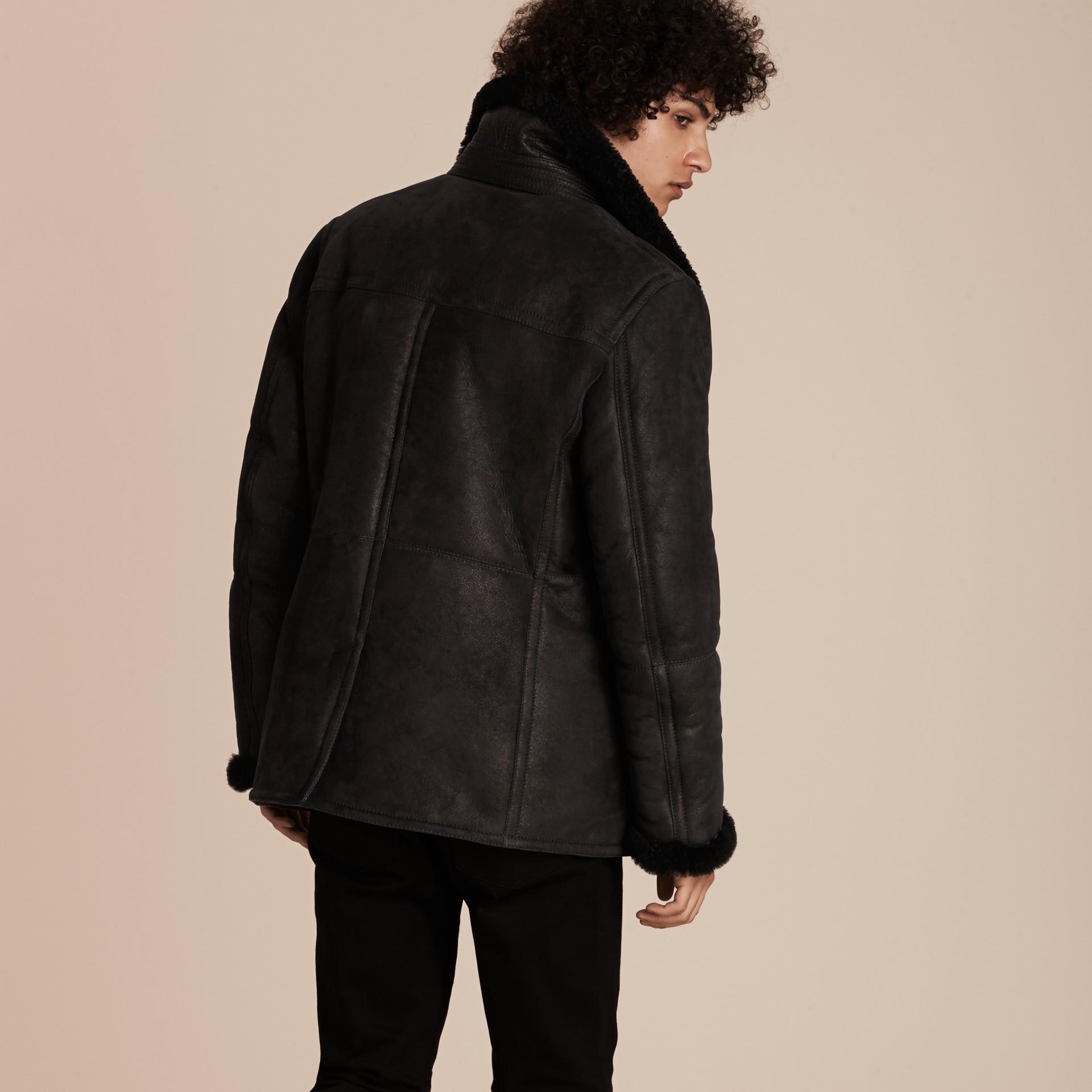 Black Shearling Pea Coat - gallery image 3