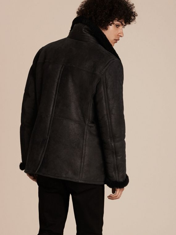 Nero Pea coat in shearling - cell image 2
