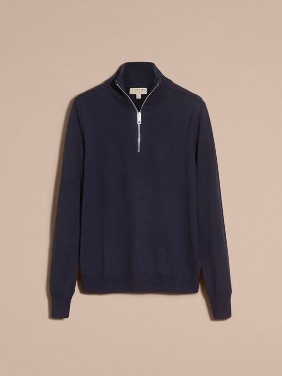 Navy Zip-collar Merino Wool Sweater Navy - cell image 3