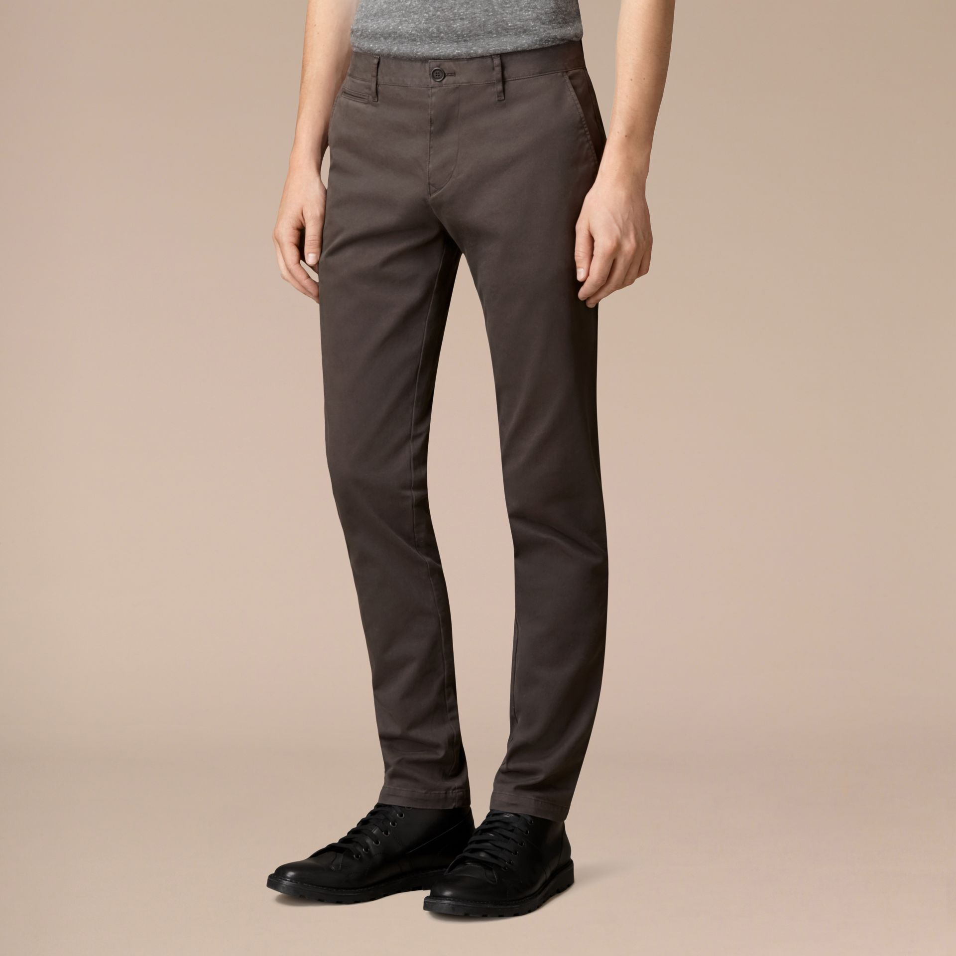 Flint Slim Fit Stretch-Cotton Twill Chinos Flint - gallery image 3